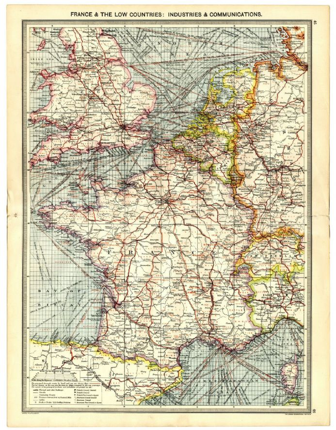 1907 Antique Map EUROPE Industry Communications FRANCE Belgium NETHERLANDS etc